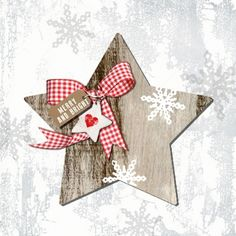4 Single Table Party Paper Napkins for Decoupage Decopatch Craft Country X-Mas 2 Christmas Arts And Crafts, Christmas Star, Primitive Christmas, Diy Christmas Ornaments, Diy Xmas Gifts, Homemade Christmas Gifts, Christmas Decoupage, Paper Napkins For Decoupage, Pintura Country
