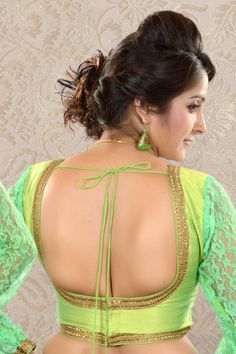 Parrot #Green & Brigh Green Raw #Silk & #Lace blouse -BL516