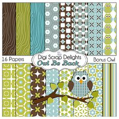 Owl Be Back Digital Scrapbooking  Paper Pack by DigiScrapDelights, $3.00