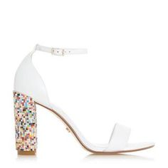 Dune London's Millionss beaded heel sandal is the ultimate statement style. Featuring a high chunky heel with multi-coloured bead detail. A buckled ankle strap and closed back complete the design.