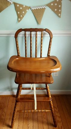 Vintage Jenny Lind Wooden Highchair Wood High Chair Antique Jennylind