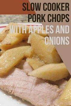 Using my crock pot so I don't have to heat up the kitchen is always a winner. Try these slow cooker pork chops with apples and onions in your slow cooker tonight! #crockpot #easydinnerideas Juicy Pork Chops, Apple Pork Chops, Food Network Recipes, Whole Food Recipes, Brunch Recipes, Breakfast Recipes, Dinner Recipes, Crockpot Recipes, Easy Recipes