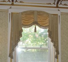 Moire-silk swagged valance by Patrice Munden Interior Design