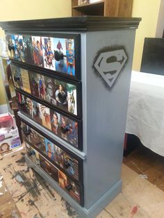 Superman & Batman Dresser by Shabby Jacks Superman Room, Superhero Room, Sala Nerd, Repurposed Furniture, Diy Furniture, Marvel Bedroom, Kids Bedroom, Bedroom Decor, Comic Room