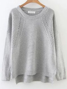 24e7a7f380 Grey Hollow Out Drop Shoulder Dip Hem Sweater -SheIn(abaday) Fall Sweaters
