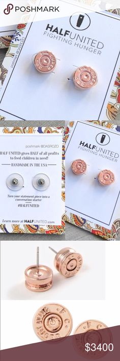 ☆ Rose Gold Bullet Stud Earrings For every Half United product you purchase, you give a week of meals to feed children in need! Made by the tops of 9MM bullet casings in brass. A symbol that can often times be seen as a negative, transformed into a positive!   It's ideal for everyday wear and a great way to share your fight against hunger in a subtle way!   • 9mm casing top  • rose gold plated  • hypoallergenic earring posts • USA handcrafted  No trades. Ships M to F. Bundle to save! Half…