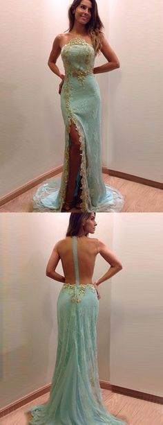 Appliques Prom Dresses,Gold Lace Prom Dresses,Lignt Blue Prom Dresses,Sheer Back Prom Dresses,Sexy Prom Gowns,Leg Split Prom Party Dress,Long Prom Dresses,Sleeveless Prom Dresses,Fashion Prom Dresses,Mermaid Prom Dresses