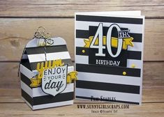 40th Birthday Bash Baker's Box using the Badges & Banners Stamp Set and Birthday Banners Stamp Set created by Pam Staples for the One Stamp At a Time Blog Hop. To order the supplies for this card or any of the cards I created, visit my blog at www.sunnygirlscraps.com for more information. #birthdaybanners #stampinup #pamstaples #osat #birthdaybash #sunnygirlscraps