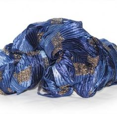 Dazzling WVU Blue and Gold ribbon yarn for knit or crochet.