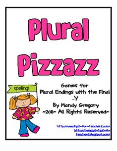 Included in this packet is four spelling games on plural nouns focusing on the final -y ending.     The first game is a simple activity that wo...