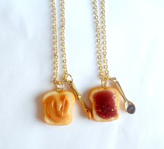 Peanut Butter Jelly Necklace Set Best Friend's by aLilBitOfCute J Necklace, Bff Necklaces, Everyday Fashion, Jelly, Peanut Butter, Best Friends, Aquaponics, Miniature Food, Silver