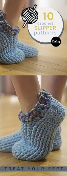 10 Free Patterns for Crochet Slippers Keep your feet warm, cozy, and stylish this winter with a pair of fuzzy crochet slippers. Grab some yarn, crochet hooks and one of our free crochet slipper patterns to get started on your own pair! Knit Or Crochet, Crochet Crafts, Easy Crochet, Crochet Stitches, Crochet Winter, Crochet Edgings, Crochet Shirt, Cross Stitches, Crochet Granny