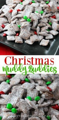 Christmas Muddy Buddies recipe from Served Up With Love. The perfect sweet treat to celebrate the season. #christmas #dessert #recipe