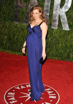 Amy didn't attend the awards in 2010, when she was seven months pregnant, but she hit the Vanity Fair Oscar party wearing a bump-revealing, bright blue Philosophy di Alberta Ferretti gown. Daughter Aviana was born May 15 of that year.