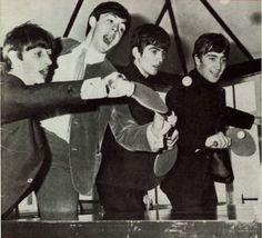 A-Z sports letter T - Table tennis (ping pong) Beatles do ping pong Ping Pong Bar, Ping Pong Room, Ping Pong Table Tennis, George Harrison, Paul Mccartney, John Lennon, Richard Starkey, Kinds Of Dance, Love Me Do