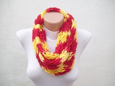 SALE %20 - Was 19 Now 15,2- Finger Knitting Scarf Red Yellow Multicolor Necklace Colorful Variegated Long Winter Accessories. $15.20, via Etsy.