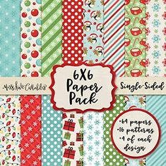 Scrapbook Specialty Paper Single-Sided 12x12 Collection Includes 16 Sheets Merry Christmas Pattern Paper Pack by Miss Kate Cuttables