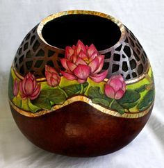Fine Gourd Art, Lotus Garden by A.V. Browning
