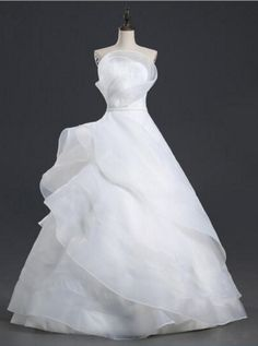 Long Wedding Dress Ball Gown Pure White Flowers#BridalDresses #WeddingGowns #Wedding #WeddingDresses How To Dress For A Wedding, Long Wedding Dresses, Princess Wedding Dresses, Wedding Dress Styles, Bridal Dresses, One Shoulder Wedding Dress, Wedding Gowns, Ball Dresses, Nice Dresses