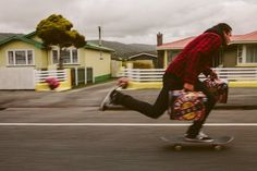 Skateboarding with supplies, New Zealand, Tabitha Harris, date unknown.