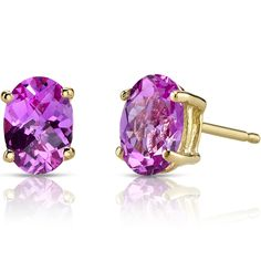 MSRP: $299.99    OurPrice: $199.99    Savings: $100.00        Item Number: E19090  Availability: Usually Ships in 5 Business Days        PRODUCT DESCRIPTION:    These beautiful earrings for her feature vibrant Lab Created Pink Sapphire gemstones with a Fuchsia Pink Hue and Brilliant Sparkle and are showcased in 14k Yellow Gold.        FEATURES:      Crafted in 14k Yellow Gold  Sleek 4 Prong Design Design  (2) 7x5mm Oval Lab Created Pink Sapphires   | Shop this product here…
