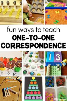 10 + creative ways to teach one-to-one correspondence. Each of these activities is a meaningful and playful way to teach this important math concept. While this is a crucial math skill, it's also important in literacy too! Great for preschool. Educational Activities For Preschoolers, Kindergarten Math Activities, Fun Math Games, Homeschool Math, Preschool Activities, Preschool Graphs, Preschool Teacher Tips, Preschool Lesson Plans, Kinesthetic Learning