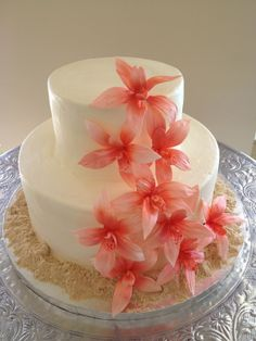 Coral Gumpaste Orchids with Sand, Wedding Cake...interesting for a beach wedding