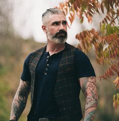 Henley and waistcoats such an epic look! Lambskin details and classic fit! Check them out! #fashion #menswear #style #swaggy #henley #madeinusa #badass #tattoo #inked #inkedup #despoje #dapper