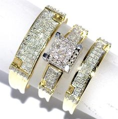 Great Yellow Gold Trio Wedding Set Mens Women Rings Real ct Diamonds Pave