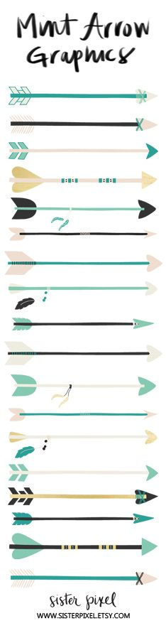 Printable arrows clip art graphics in mint, teal, black, gold and beige. An arrow is always moving forward :) #craftsupplies #printable