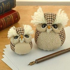 Items similar to Handmade Collectible Paperweight Owl, SMALL on Etsy I love little owls and other stuffed animals. A sewing pattern to make something like this would be Softies, Fabric Crafts, Sewing Crafts, Sewing Diy, Craft Projects, Sewing Projects, Owl Always Love You, Owl Crafts, Owl Patterns