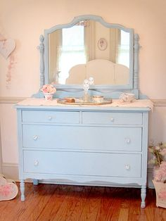 Antique Aqua Dresser with Swing Mirror...this could be a pretty addition to my pink shabby chic room