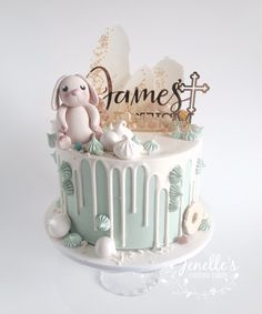 Green drip cake for James' Baptism. By Jenelle's Custom Cakes.