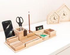 Complete desk organizer YOURSELF  Oak desk organizer  Wooden