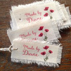 Top Tips, Tricks, And Methods To The Perfect fabric crafts Fabric Labels, Fabric Tags, Hanging Canvas, Handmade Gift Tags, Clothing Labels, Custom Labels, Hang Tags, Fabric Painting, Custom Clothes
