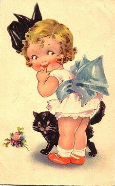 21 Trendy cats and kittens illustration vintage postcards Vintage Abbildungen, Images Vintage, Vintage Ephemera, Vintage Pictures, Vintage Prints, Vintage Paper, Vintage Graphic, Vintage Black, Retro Poster