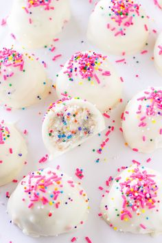 Cake batter truffles with plenty of pink and rainbow sprinkles.