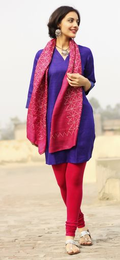 The #pink and #purple story - #silk #kurta with #cotton #churidar