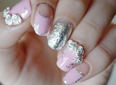 Pink Nails with Silver details an Roses from bornprettystore   http://themakeuphoneyblog.com/2014/11/08/pink-nails-with-silver-roses/