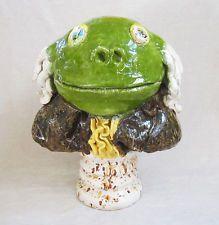"""DAVID GILHOOLY Original Large Glazed Ceramic Sculpture - """"Frog Franklin"""""""