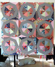 Check this out! The chevron fabric on the rings is amazing! Spinning_Stars_Blocks by Libs Humphries, via Flickr