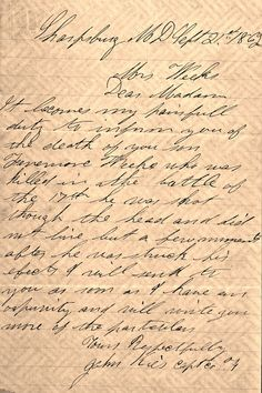 Letter to the mother of Pvt. Fennimore Weeks, who was killed at Antietam.   JOHN BANKS' CIVIL WAR BLOG: May 2013