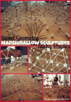 Marshmallow and toothpick sculptures. Great STEM project for kids!