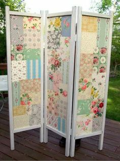 Fabric DIY folding screen.  I think I'll make a waterproof one for outside or have one inside.