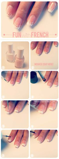 Best Nail Art Ideas for Brides - Simple Dotted French - Simpe, Cute, DIY NailArt Tutorials That Are Step By Step For Brides. Everything From The Wedding Manicure To French Tips To Simple Sparkle and Bling For The Ring Finger. These Are Super Fun And Super Easy. - http://thegoddess.com/nail-art-ideas-for-brides