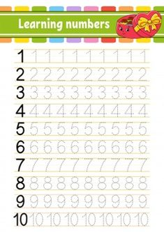 Letter Tracing Worksheets, Kids Math Worksheets, Handwriting Worksheets, Number Tracing, Learning Numbers, Writing Numbers, Preschool Letters, Preschool Math, Reading Comprehension Activities
