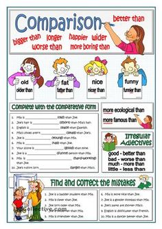 This worksheet has been planned as an introduction of the comparative form of the adjectives or as a reinforcement for weak students. Students complete the sentences with the correct comparative form and then correct the typical mistakes beginners make. Key providedHere you are some practice on the topic: https://en.islcollective.com/resources/printables/worksheets_doc_docx/earth_is_bigger_than_mars/adjectives/87127https://en.islcollective.co...
