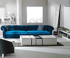 Fancy Modern Minimalist Living Room Feature Blue Sofa With Round Wing And Spot B., Fancy Modern Minimalist Living Room Feature Blue Sofa With Round Wing And Spot B…,