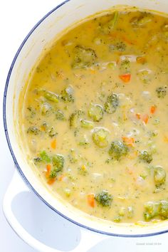 Broccoli Cheese Soup -- rich, creamy, delicious, and lightened up with a few simple tweaks! | gimmesomeoven.com