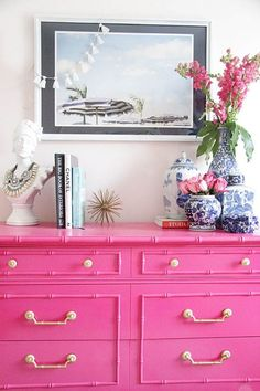 Classic and timeless Ginger Jars add sophistication to any room. Ginger Jars mixed with bright Fuchsia or filled with lush pink Peonies please! How do you take your Ginger Jars? Decor, Furniture, Retro Home Decor, Pink Dresser, Painted Furniture, Vintage Chinoiserie, Decor Inspiration, Home Decor, Vintage Furniture
